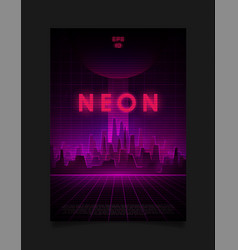 retrowave night city with laser grid glowing neon vector image