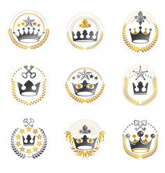 royal crowns emblems set heraldic coat of arms vector image