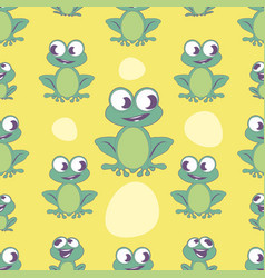 Seamless pattern cute cartoon style frog on vector