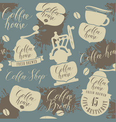 seamless pattern on theme coffee house vector image
