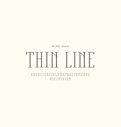 Serif font in thin line style vector