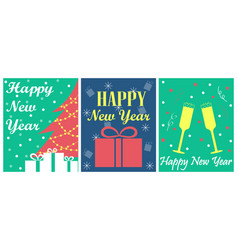 set of 3 greeting cards for new year vector image