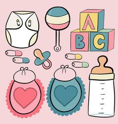set of baby supplies vector image