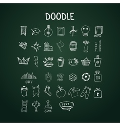 Set of doodle icons on chalkboard vector image