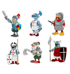 Set of six knights vector