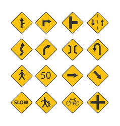 Set traffic black signs vector