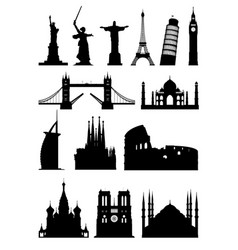 Silhouettes landmark vector