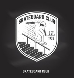 Skateboard club sign on the chalkboard vector