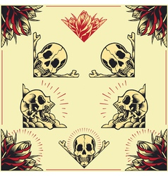 Skull and Rose Frames set 01 vector image