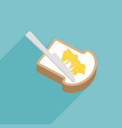 Slice of toast bread with knife spreading butter vector