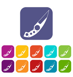 Small knife icons set flat vector