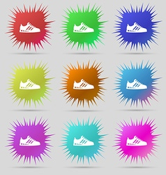 Sneakers icon sign A set of nine original needle vector image