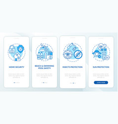 Summertime safety onboarding mobile app page vector