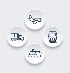 transportation industry icons in linear style vector image