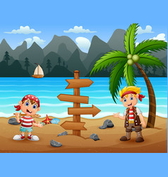 Two pirate kids in beach vector
