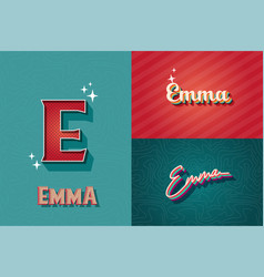 Typography name emma retro graphic design elements vector