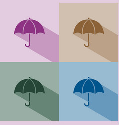 Umbrella icon with shade on winter colored vector