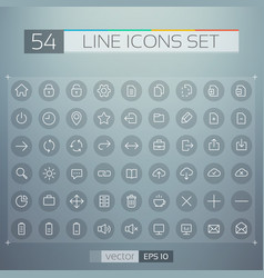 user interface line icons set vector image