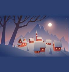 Village in snow vector