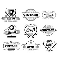 Vintage hipster logos and labels set with vector