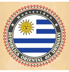 Vintage label cards of Uruguay flag vector