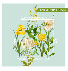 vintage summer and spring flowers graphic design vector image