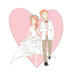 wedding cute couple vector image