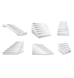 White stairs and minimalistic staircase front or vector