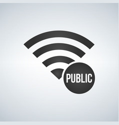 wifi connection signal icon with public sign in vector image