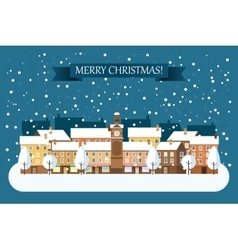 Winter Town Christmas Card vector image