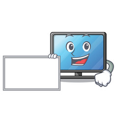 with board lcd tv cartoon in living room vector image