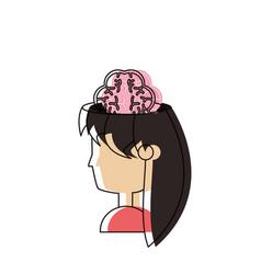 Woman head and brain icon vector