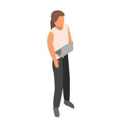 woman hr manager icon isometric style vector image