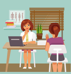 woman on reception at the doctor vector image