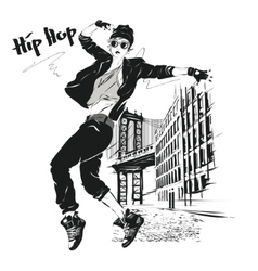 young girl dances hip-hop vector image