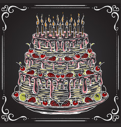 birthday cake on the chalkboard vector image vector image