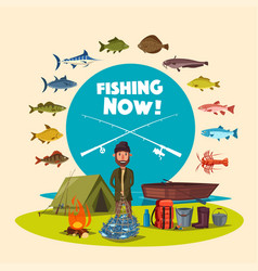 Fisher man fishing camp and big fish catch vector