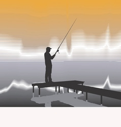 fisherman on a pier vector image vector image