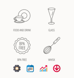 Food and drink glass and whisk icons vector