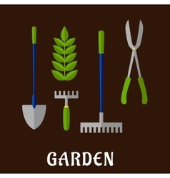 Isolated gardening tools flat icons vector