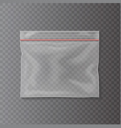 plastic transparent pocket bag closing strip vector image