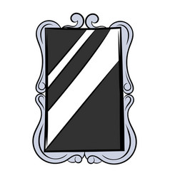 rectangular mirror icon cartoon vector image