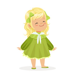 sweet smiling little girl dressed in green dress vector image vector image
