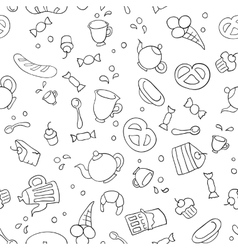 Tea and sweets seamless background vector image