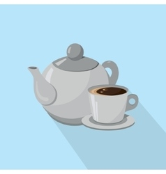 Teapot and Cup of coffee isolated on a white vector image