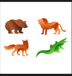 wild animals jungle pets logo silhouette of vector image