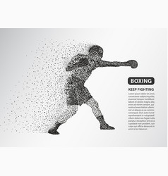 boxer dots silhouette boxing fighter banner vector image
