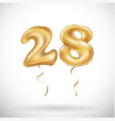 golden number 28 twenty eight metallic balloon vector image vector image