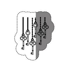 Monochrome contour sticker with vintage keys vector