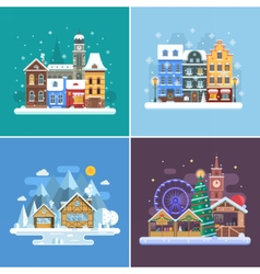 New year and winter travel backgrounds vector